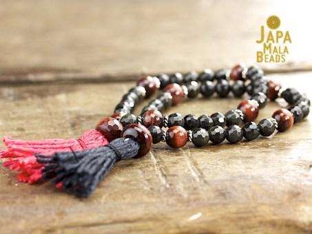 Black Obsidian and Red Tiger Eye Mala