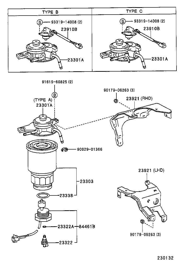 93 toyota previa fuel filter drawing