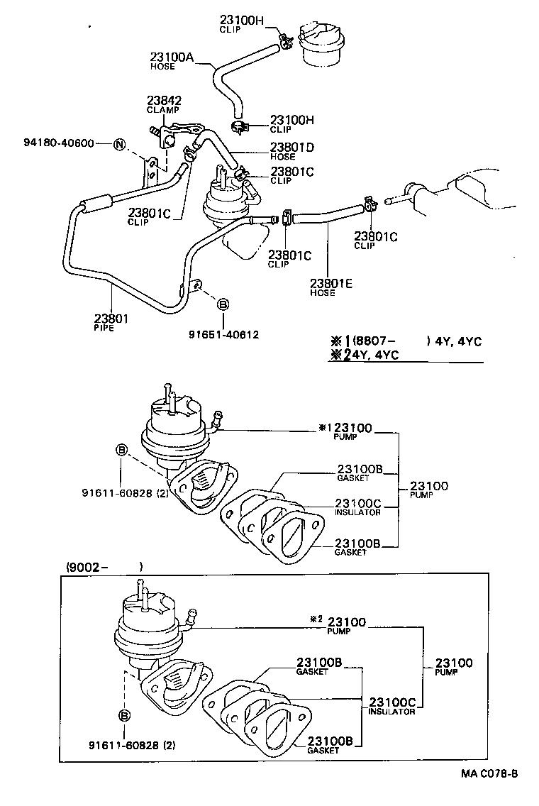 Toyota 22r fuel pump spacer