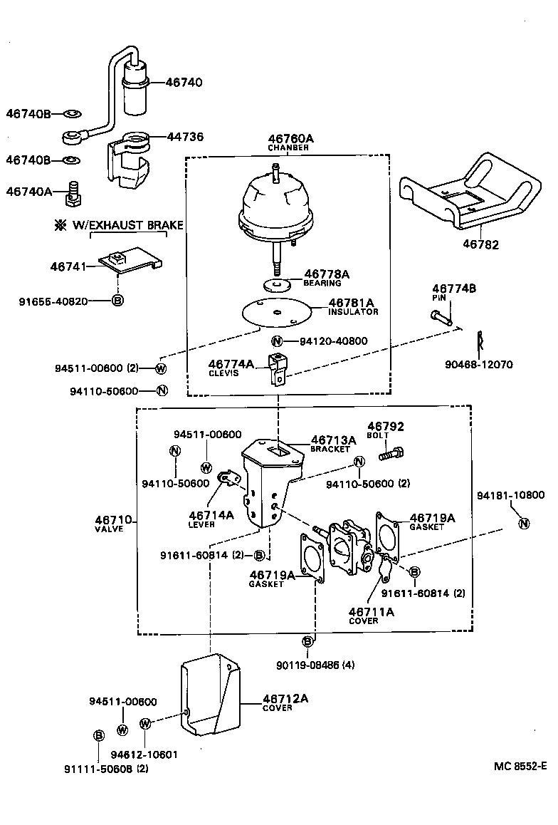 Coaster exhaust brake assembly vacuum cylinder