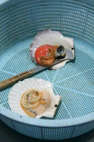 先端が平たいイチョウ型をした貝剥き用の道具「貝べら」。