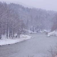 鵡(む)川と雪の景色。名も無きスポット。11月