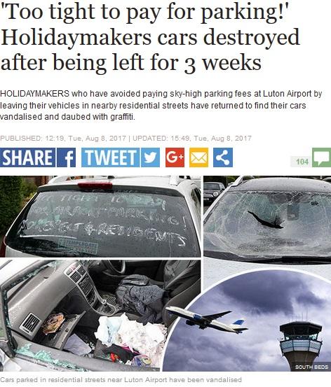 路上に停めた旅行者の車、何者かに破壊される(画像は『Express 2017年8月8日付「'Too tight to pay for parking!'Holidaymakers cars destroyed after being left for 3 weeks」(SOUTH BEDS)』のスクリーンショット)