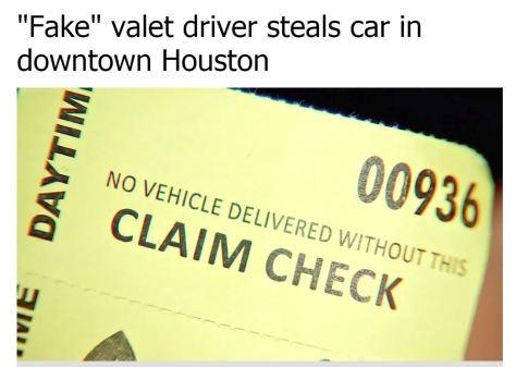 """偽バレーパーキングにご注意を(画像は『abc13 News 2018年4月24日付「""""Fake"""" valet driver steals car in downtown Houston」』のスクリーンショット)"""
