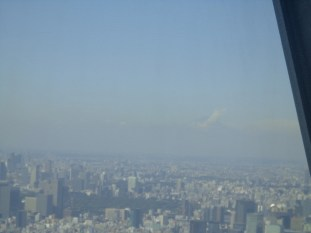 Behind the smog you can sort of see Mt. Fuji!