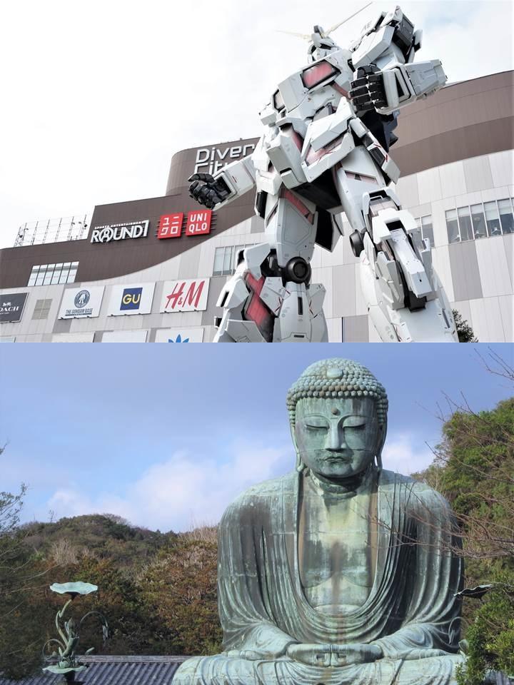 The Life Sized UNICORN GUNDAM Statue 実物大ユニコーンガンダム立像 2018 / The Great Buddha and Kotoku-in 鎌倉大仏高徳院 2011