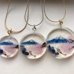 3D ペインティング富士山と桜と鯉ネックレス
