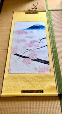 掛け軸 桜と富士山 日本画 水墨画