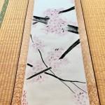 掛け軸 日本画 水墨画 禅スタイル桜