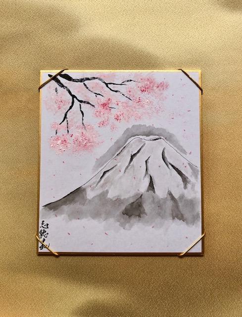 ミニ掛け軸 着物絹 富士山と桜