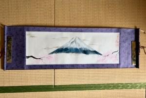 富士山と桜日本画掛け軸