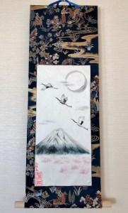 袋帯シルク日本画掛け軸富士山と鶴と桜と満月