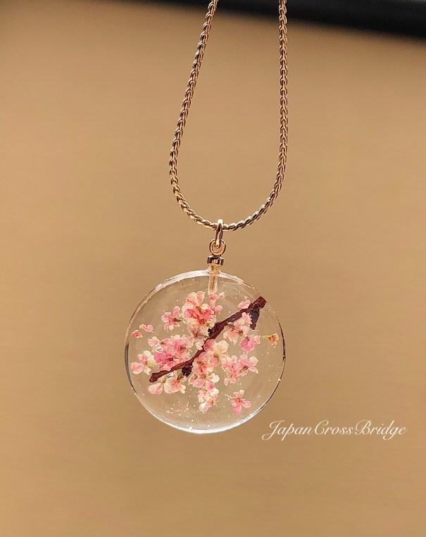 和風クリスタル桜ネックレス