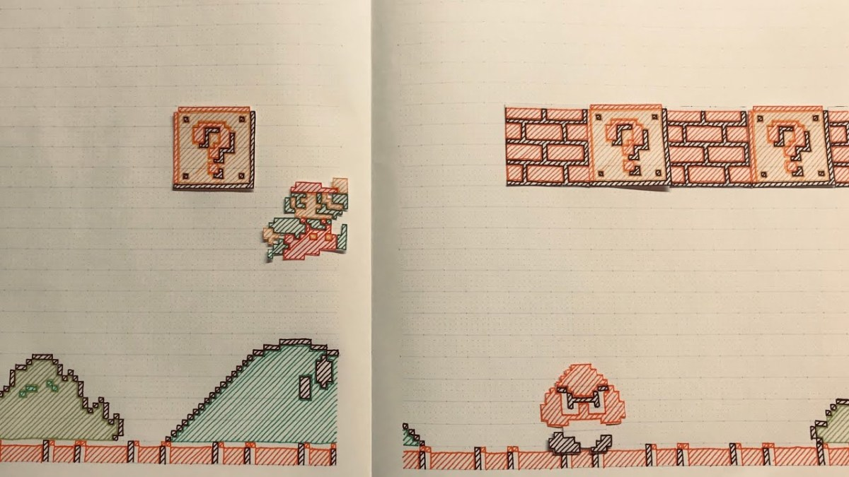 Hutae Kisaragi, Nintendo Fan in Japan drew Super Mario Bros. on a notebook