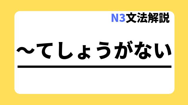 N3文法解説「~てしょうがない」