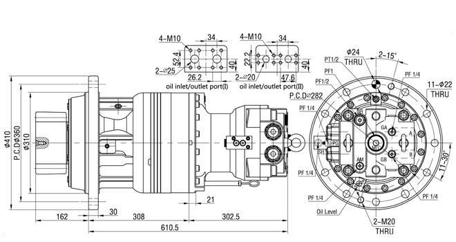 Kobelco SK200-3 SK200-8 の掘削機の油圧振動回転式モーター SM220-09