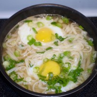 Tsukimi Udon: Noodle Soup with Poached Eggs