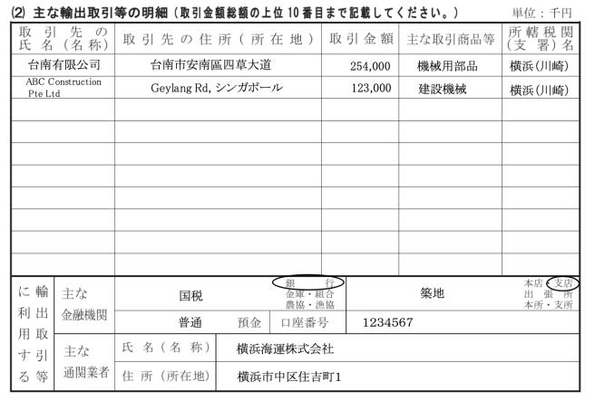 消費税の還付申告に関する明細書記載例(主な輸出等の明細)