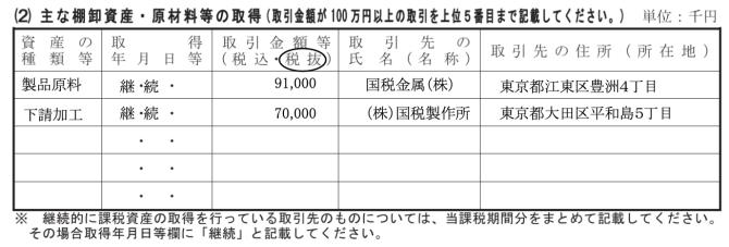 消費税の還付申告に関する明細書記載例(棚卸資産・原材料の取得)