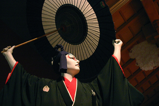 Make-up artwork is an important aspect of kabuki, with different styles denoting the heroes and villans