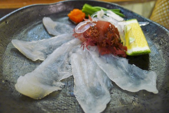 Fugu sashimi. Just keep away from the liver...
