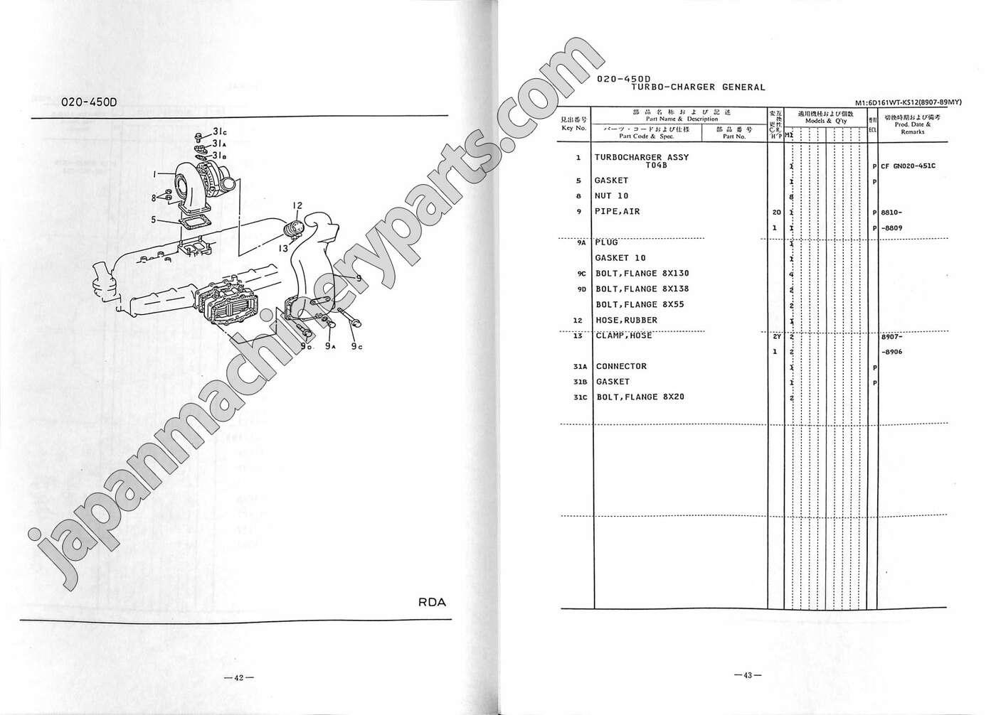 Parts for MITSUBISHI 6D16 (KOBELCO RK250-2/3)