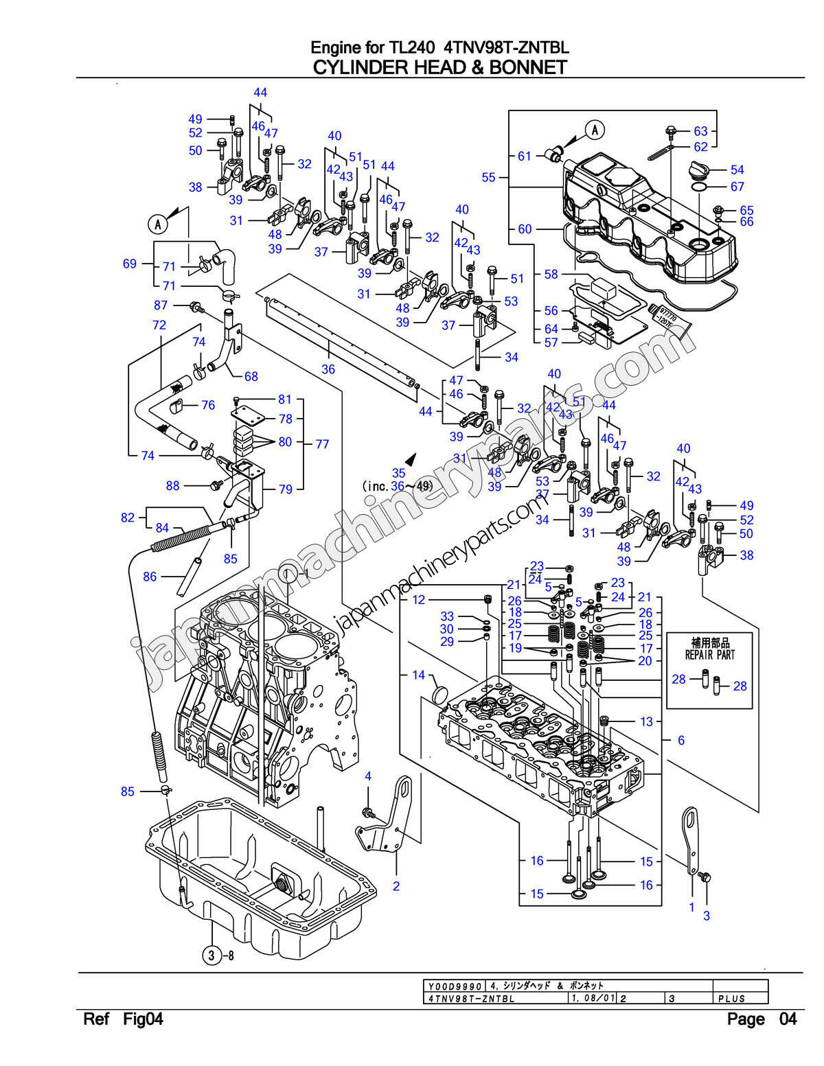 Parts for YANMAR 4TNV98T-ZNTBL