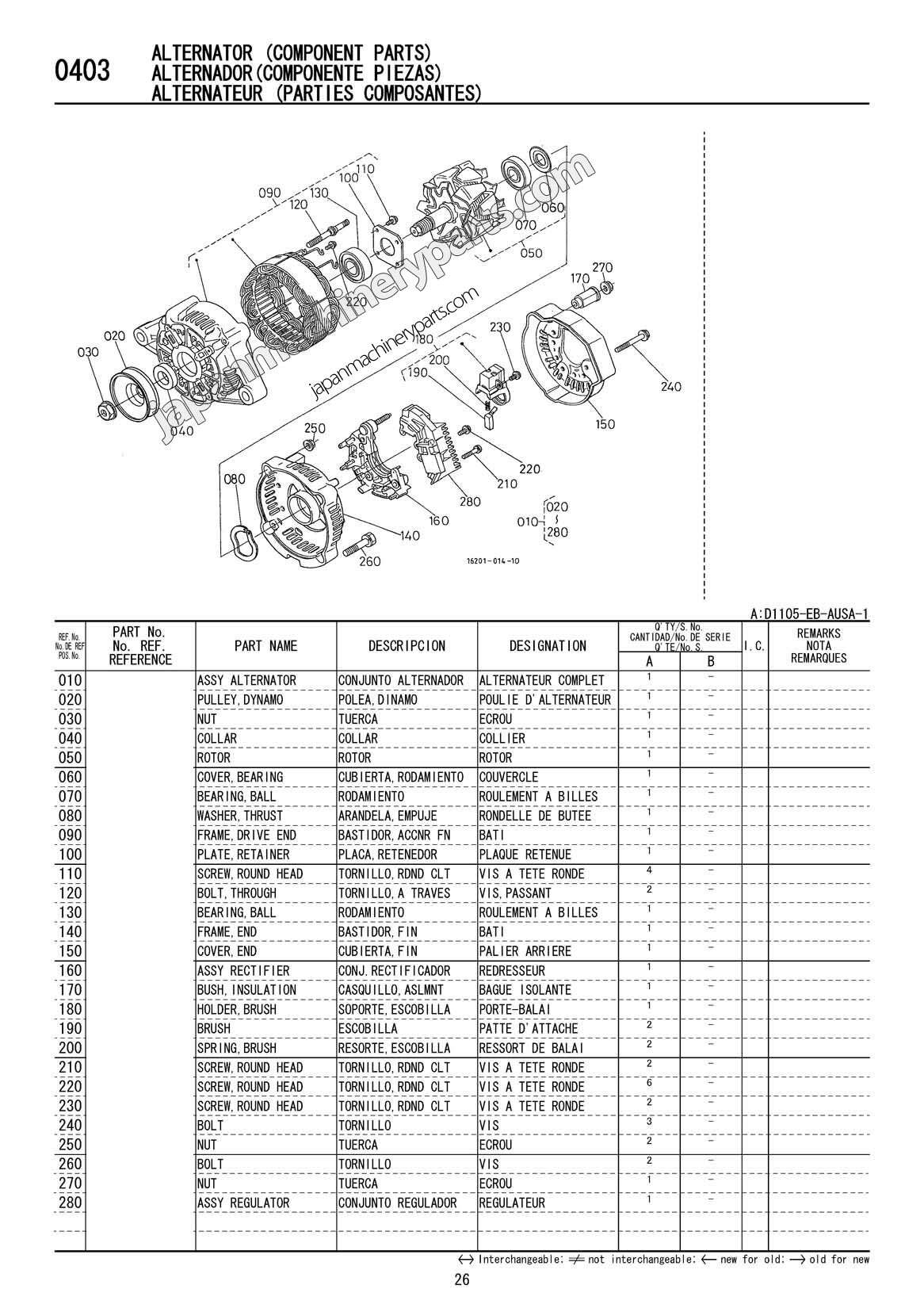 Parts for KUBOTA D1105-EB