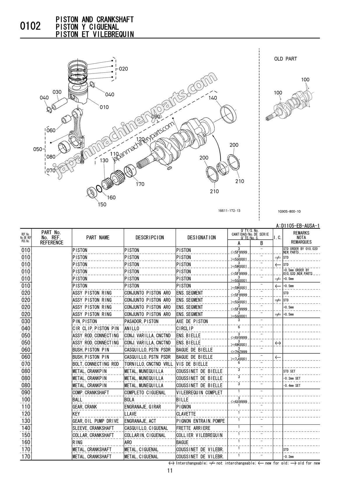 Parts For Kubota D Eb