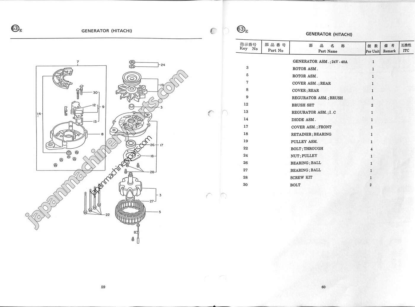 Parts for ISUZU 4JB1 (KOBELCO SK75UR)