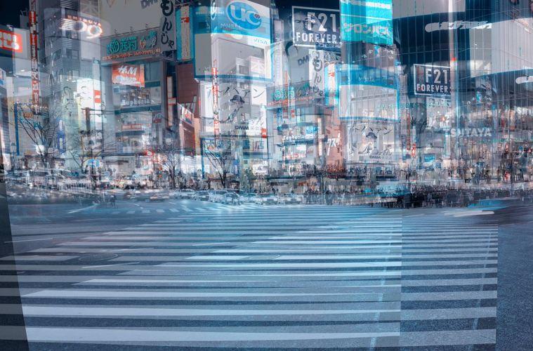 Group shot with 60 people on Shibuya Crossing
