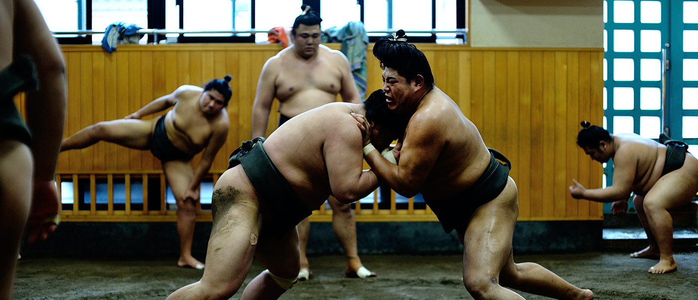 Sumo wrestling: shooting the morning practice