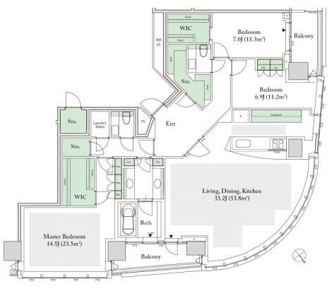157A (41, 43F) 3-Bedrooms 157.16 sqm (1,691 sq ft) + 13.20 sqm balcony.