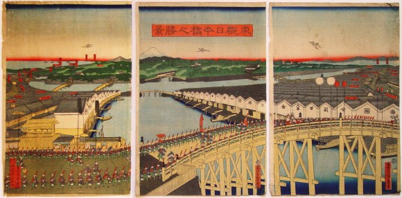 A beautiful panoramic triptych of Nihonbashi, facing Edobashi.  (big time anachronism going on here, btw. this is supposed to be the shogun minamoto yoritomo's procession)