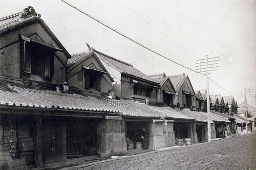 Not sure where this was, but this is probably what Muromachi looked like in the Edo Period... minus the telegraph poles.
