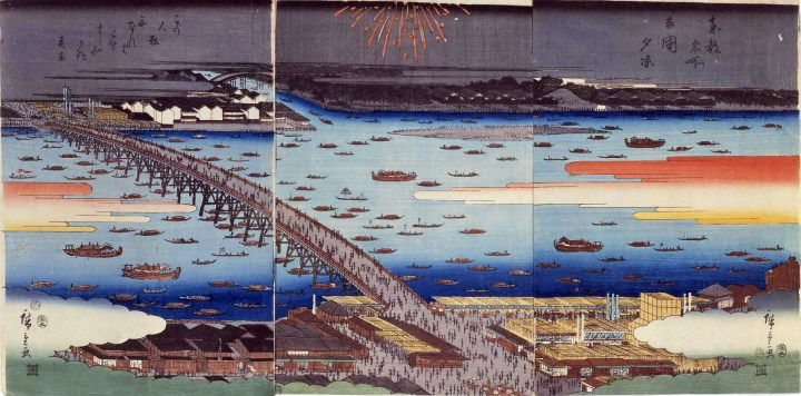 Fireworks from Ryogoku Bridge and the Sumida River.
