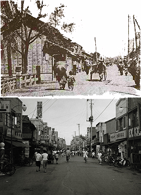 Kappabashi in the Meiji Era and Showa Era. You can see the actual bridge in the first picture. Does anyone know where I can find a bigger version of the top photograph?