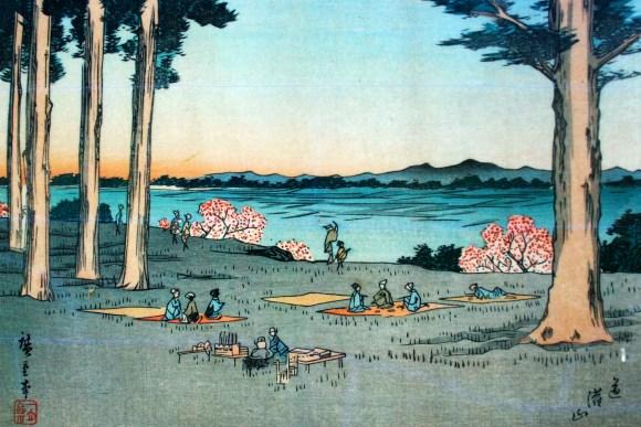 A scene as familiar as today Edoites on Dokanyama having a picnic while enjoying the sunset over Mt. Fuji.