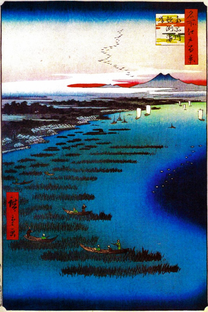 """Utagawa Hiroshige thought enough of Samezu to paint it.  Notice the """"hibi"""" (seaweed fields). I talked about these in my article on Hibiya and a few other times. Anyways, seaweed is a staple of the Japanese diet and the inlets and shores of Edo Bay were renowned for this delicacy."""