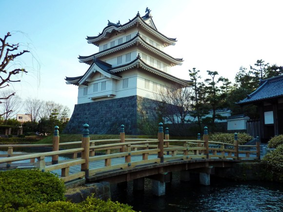 Reconstruction of Oshi Castle in Gyoda. It's actually rebuilt in the wrong location. The castle's honmaru (main keep) is now an elementary school. But many areas of this sleepy, farming town retain place names referencing the castle.