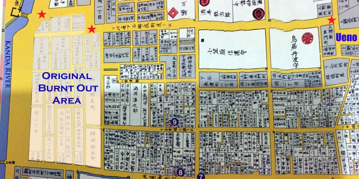 The white area shows the presumed extent of the damage of the fire.  The red stars mark the shogun's road from Edo Castle to Ueno.