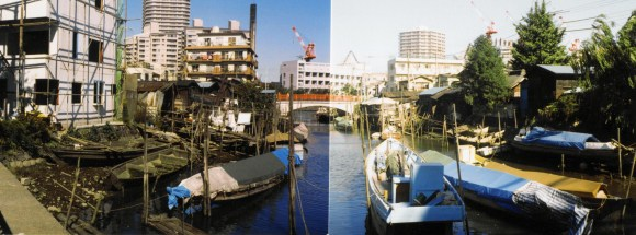 """A """"panoramic"""" shot of Tsukuda 1-chōme in 1989."""
