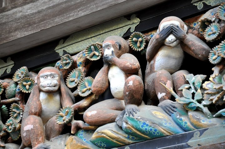 "The famous ""3 monkeys"" who ""see no evil, speak no evil, and hear no evil"" are related. See the footnotes for details."
