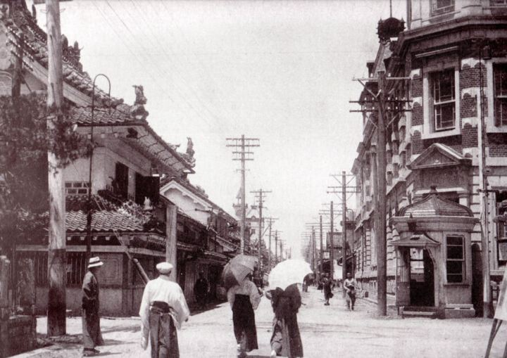 A random photo of a Taisho Period intersection. Modern Japanese cities are generally huddled together close knit towns and so intersections have always been very important. This photo includes a