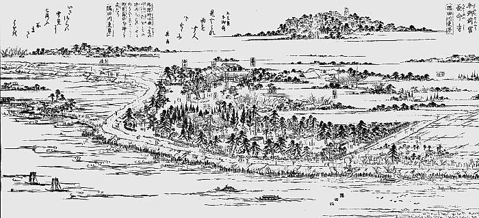 Ushi Gozen-sha on the banks of the Sumida River in the Edo Period.