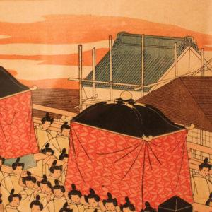 In this ukiyo-e you can see a kura in Nihonbashi with scaffolding up, mounted on - you guessed it - hooks!