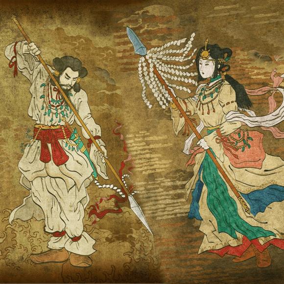 Izanagi and Izanami create the land