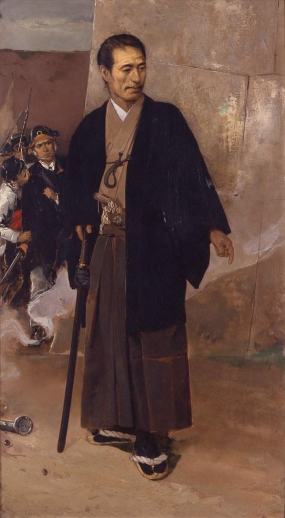 Katsu Kaishu standing in front of the walls of Edo Castle