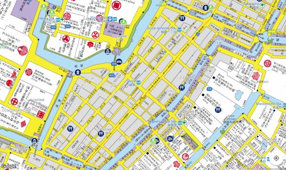 map of Ginza in the Edo Period
