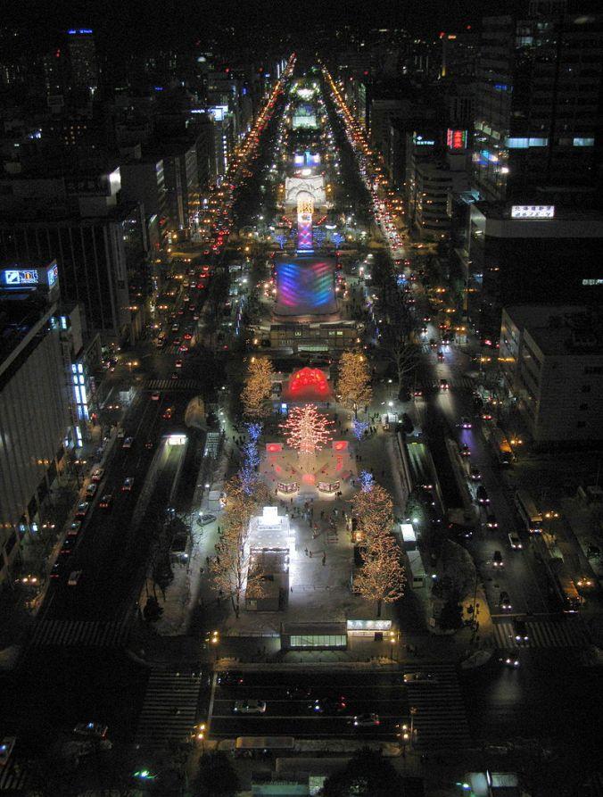 Festival de neve Sapporo noite